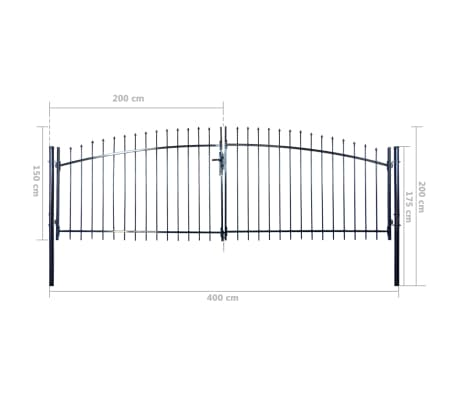 Double Door Fence Gate with Spear Top 13' x 6'[6/6]