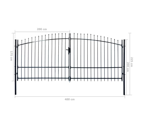 Double Door Fence Gate with Spear Top 13' x 7'[6/6]