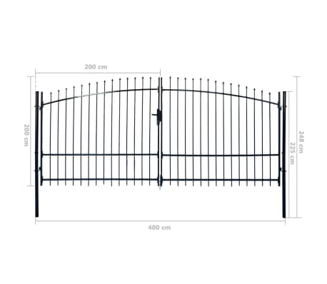 Double Door Fence Gate with Spear Top 13' x 8'[6/6]