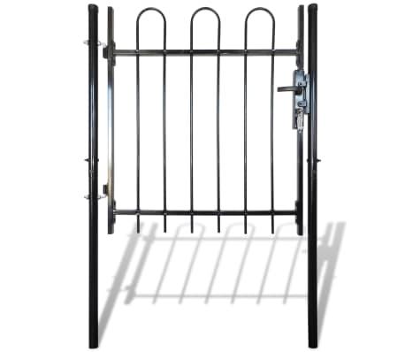 """Single Door Fence Gate with Hoop Top 39.4""""x39.4""""[1/4]"""