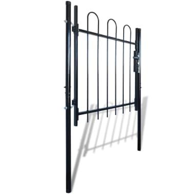 """Single Door Fence Gate with Hoop Top 39.4""""x39.4""""[2/4]"""
