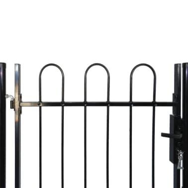 """Single Door Fence Gate with Hoop Top 39.4""""x39.4""""[4/4]"""