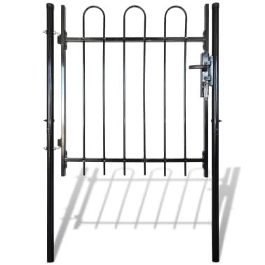 """Single Door Fence Gate with Hoop Top 39.4""""x47.2""""[1/4]"""