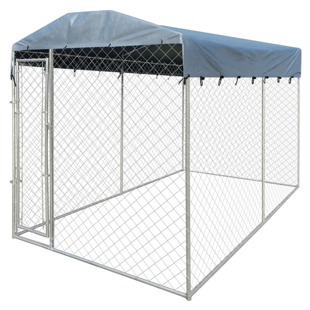 vidaXL Padoc pentru câini de exterior, cu prelată, 4 x 2 x 2,4 m imagine vidaxl.ro