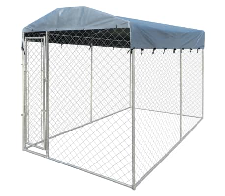 vidaXL Outdoor Dog Kennel with Canopy Top 13'x6'x7.9'