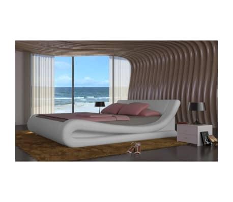 acheter lit en simili cuir matelas m moire de forme blanc 180 200cm pas cher. Black Bedroom Furniture Sets. Home Design Ideas