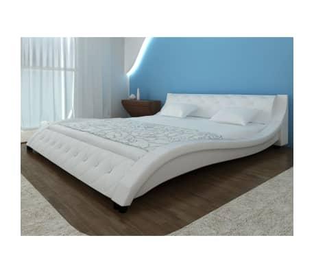 acheter lit en simili cuir vague matelas m moire de forme blanc 140 cm pas cher. Black Bedroom Furniture Sets. Home Design Ideas