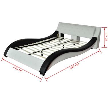 acheter lit simili cuir vague matelas m moire de forme noir blanc 180cm pas cher. Black Bedroom Furniture Sets. Home Design Ideas