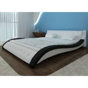 geschwungenes kunstlederbett memory foam matratze. Black Bedroom Furniture Sets. Home Design Ideas