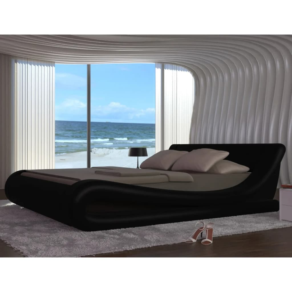 Černá vlněná postel z umělé kůže + pěnová matrace 140 x 200 cm