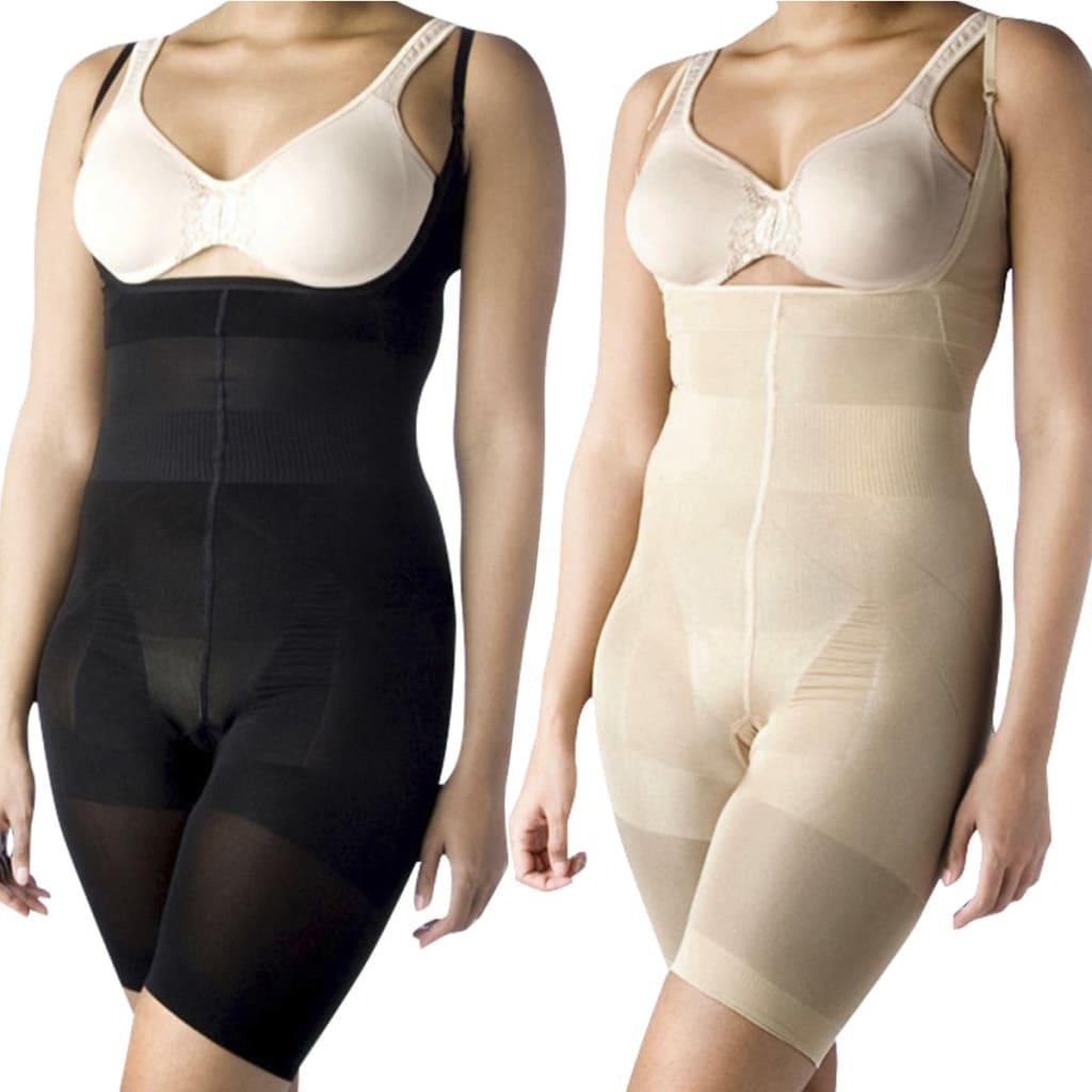 Formující dámské prádlo, body dlouhé - vel. XXL - 2 ks černé / béžové