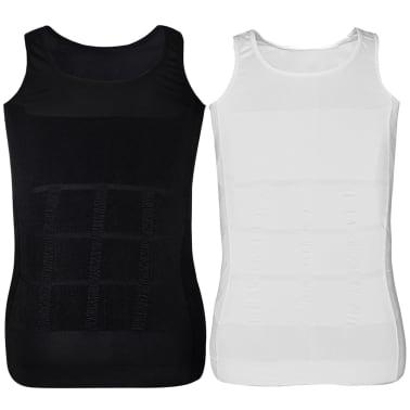 Herren Kompressionskleidung Shapewear 2tlg.Tanktop Weiß/Schwarz Gr.XXL[6/9]
