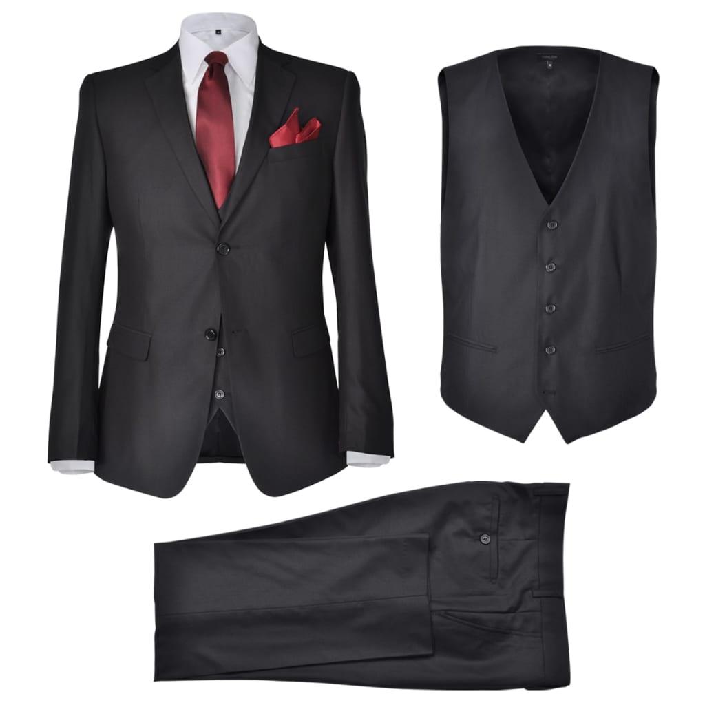 vidaXL Terno 3 peças casaco, colete e calça de homem preto tamanho 46
