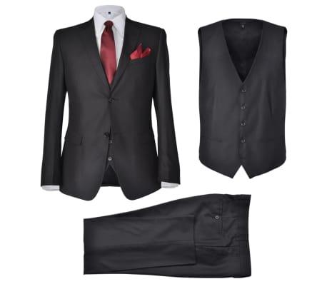 Business Anzug für Herren 3-teilig Schwarz Gr. 50[1/10]
