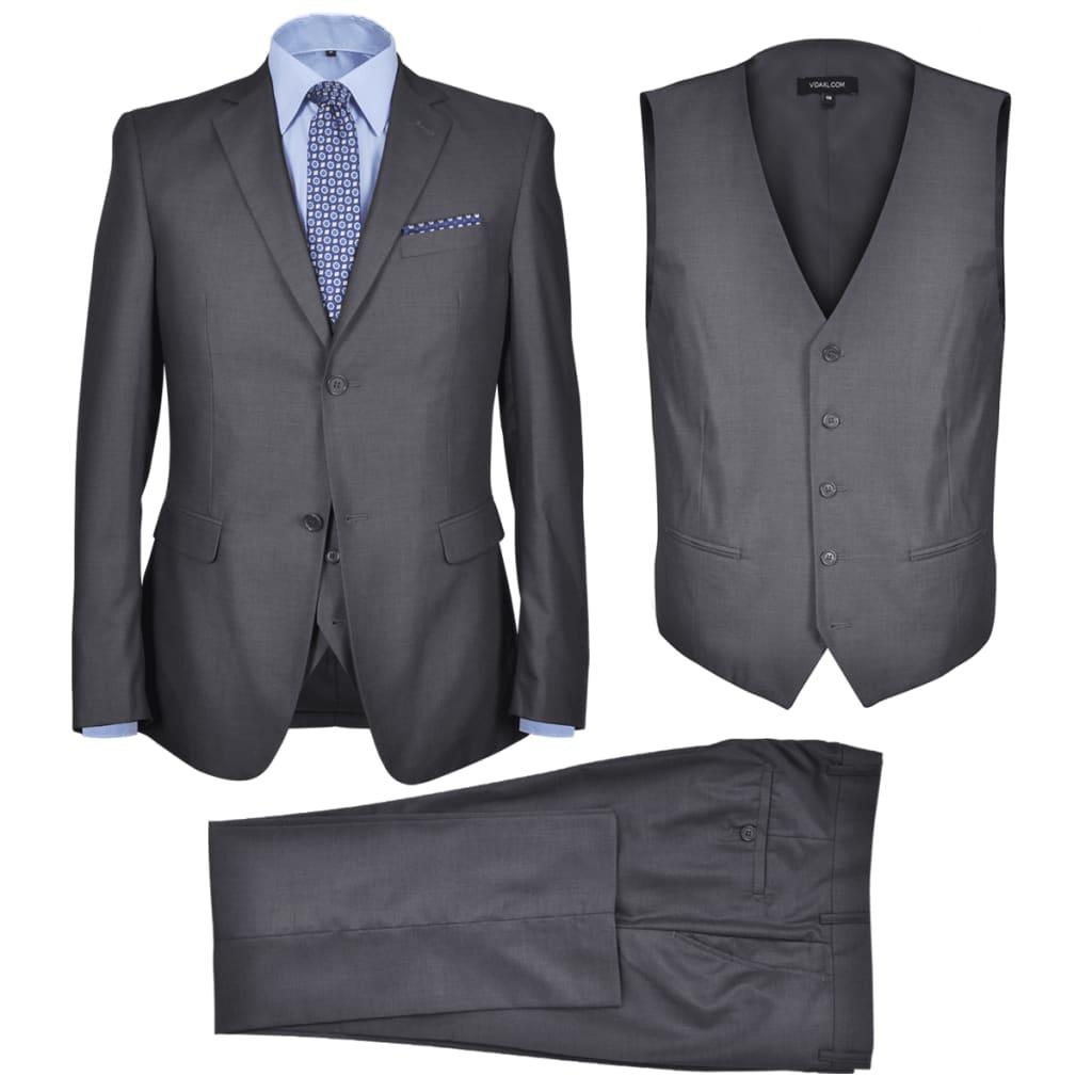 Třídílný pánský business oblek, vel. 46, antracitově šedý