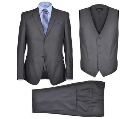 Klasikinis Trijų Dalių Vyriškas Kostiumas, 50 Dydis, Pilkas Antracitas
