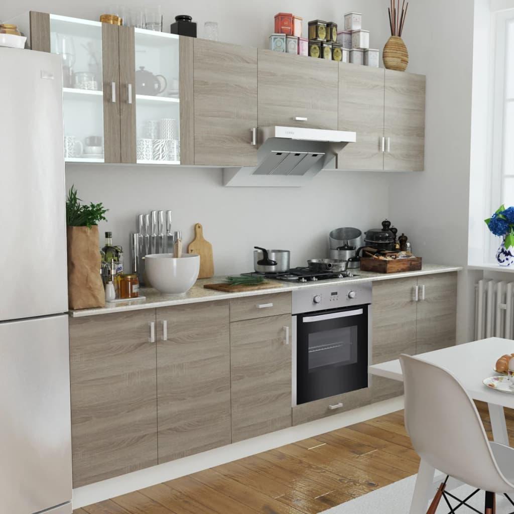 vidaXL Mobilier bucătărie, cuptor încorporat, 8 funcții, aspect stejar poza 2021 vidaXL