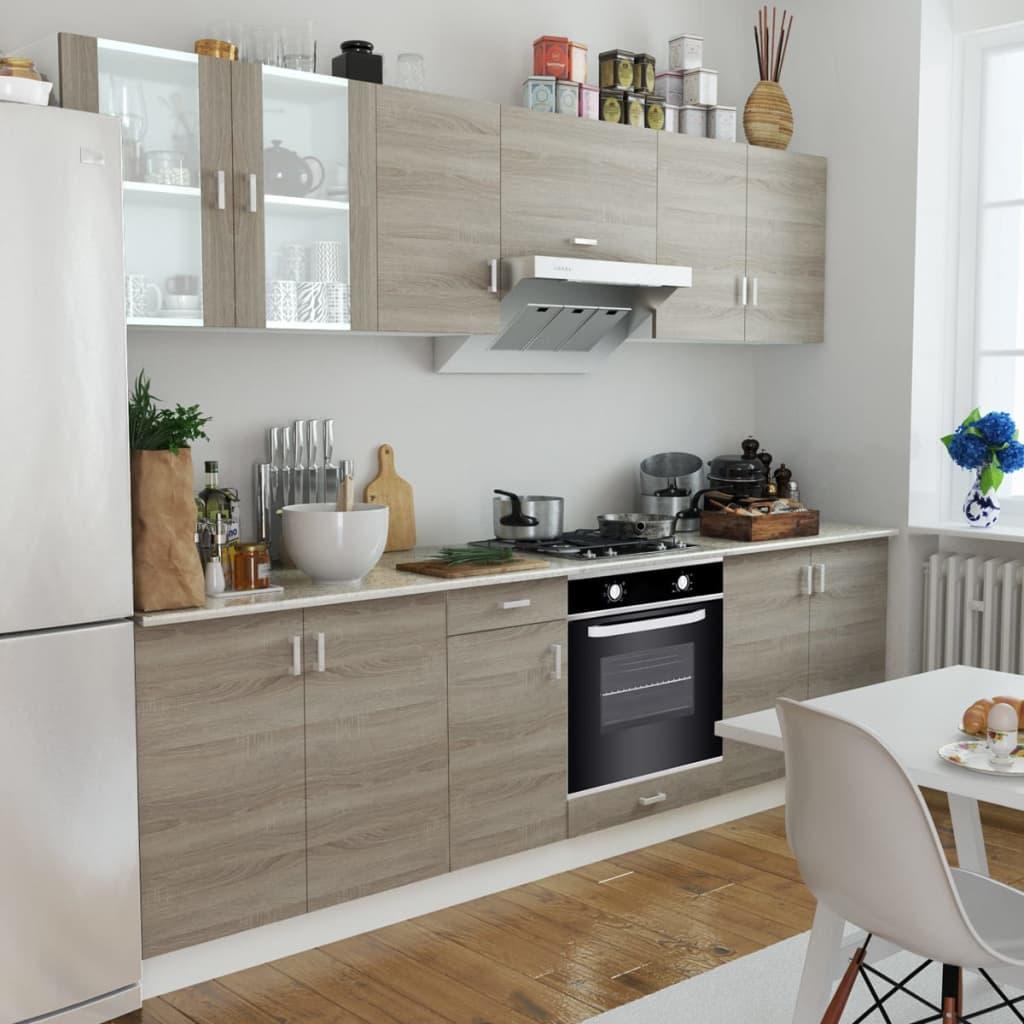 vidaXL Mobilier bucătărie, cuptor încorporat, 6 funcții, aspect stejar poza 2021 vidaXL