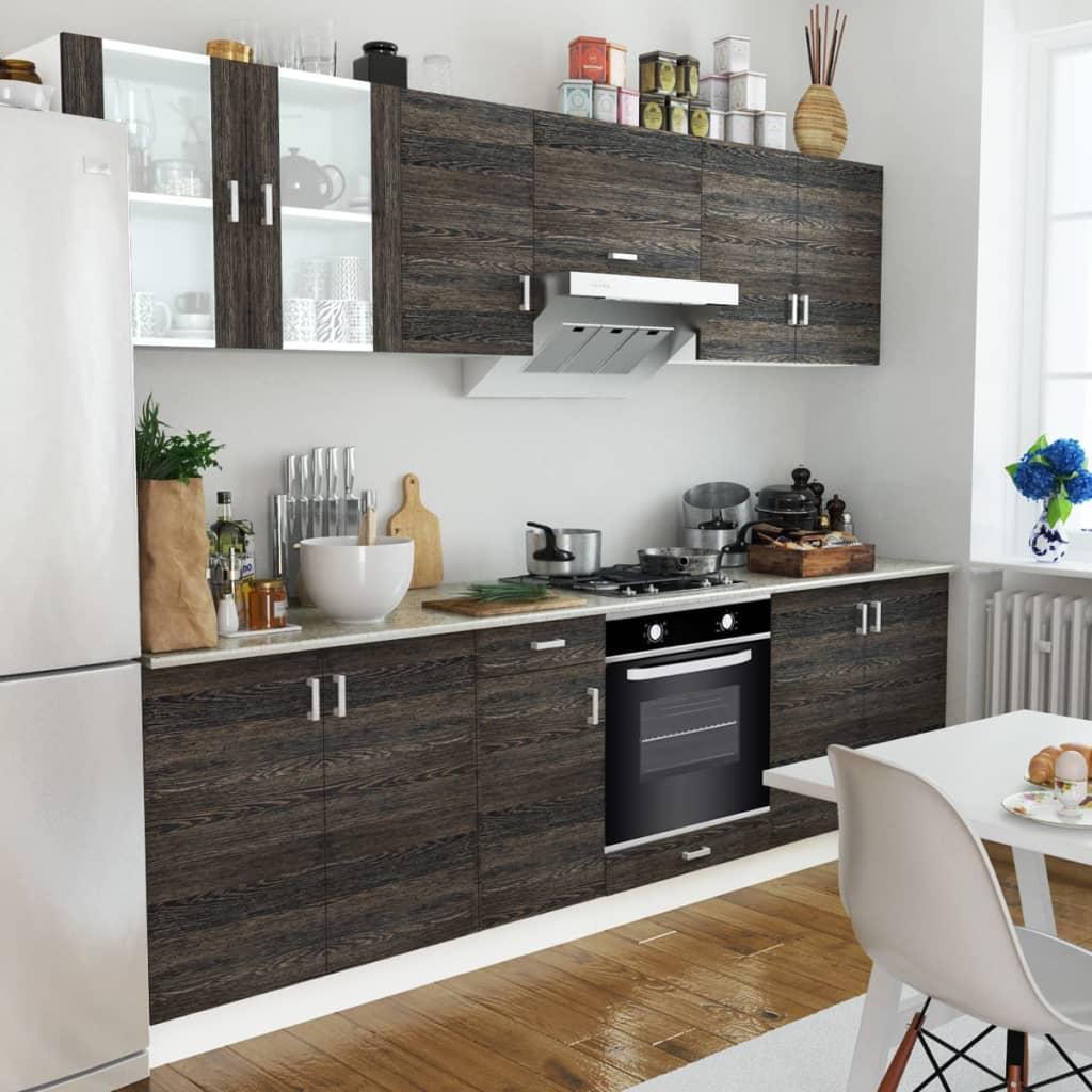 vidaXL Mobilier bucătărie, cuptor încorporat, 6 funcții, aspect wenge poza 2021 vidaXL