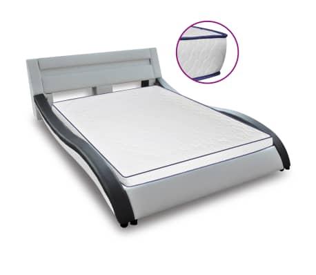 vidaXL Bed met traagschuim matras LED kunstleer 180x200 cm