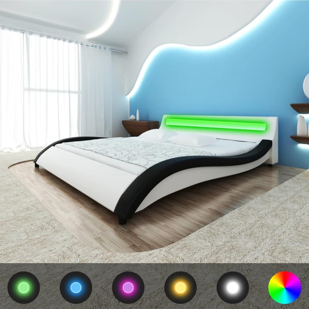 vidaXL Pat cu saltea, spumă memorie, LED, 140 x 200 cm, piele eco imagine vidaxl.ro