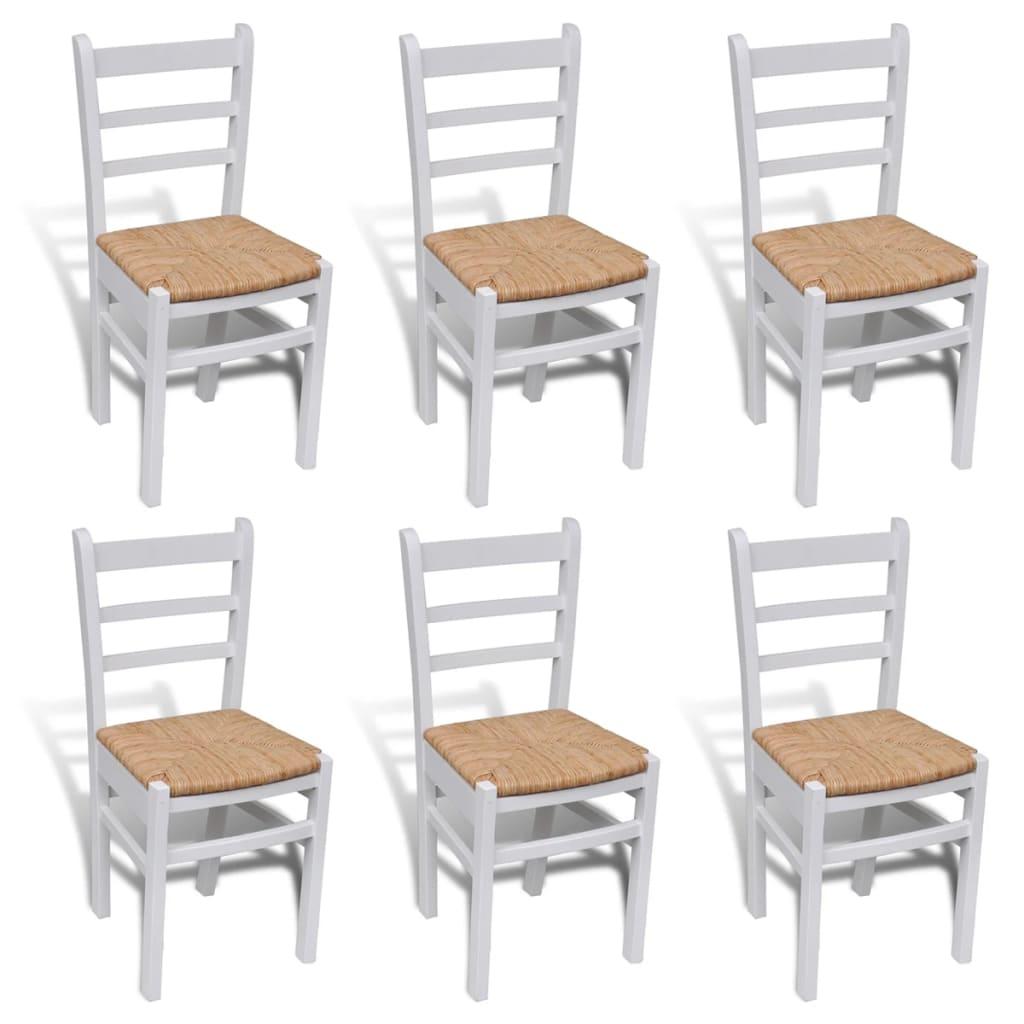 6 ks bíle natřené dřevěné jídelní židle
