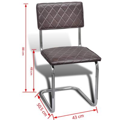 Vidaxl sillas de comedor de cuero artificial marr n 6 for Sillas comedor cuero marron