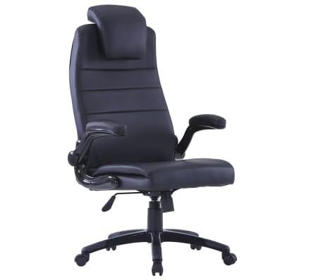 Περιστρεφόμενη καρέκλα Ρυθμιζόμενη Μαύρο συνθετικό δέρμα[1/6]