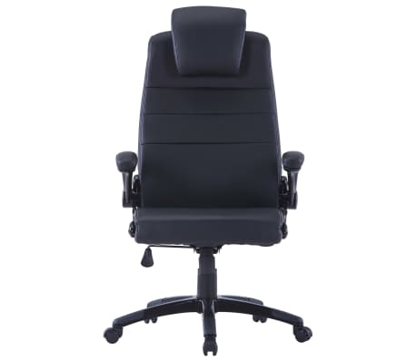 Περιστρεφόμενη καρέκλα Ρυθμιζόμενη Μαύρο συνθετικό δέρμα[3/6]