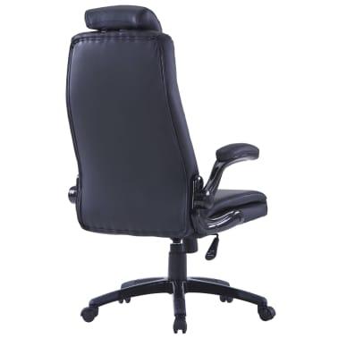 Περιστρεφόμενη καρέκλα Ρυθμιζόμενη Μαύρο συνθετικό δέρμα[2/6]