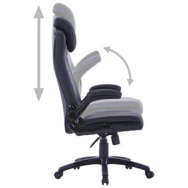 Περιστρεφόμενη καρέκλα Ρυθμιζόμενη Μαύρο συνθετικό δέρμα[4/6]