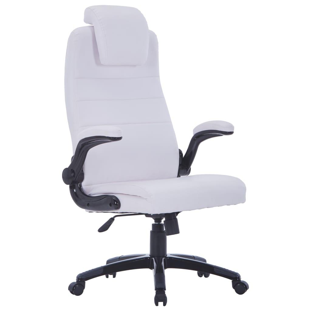 vidaXL Biały regulowany fotel obrotowy ze skóry syntetycznej