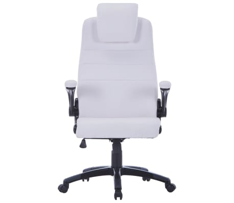White Artificial Leather Swivel Chair Adjustable[2/6]