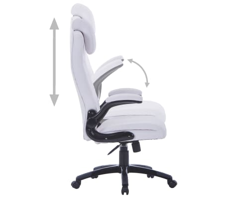 White Artificial Leather Swivel Chair Adjustable[4/6]