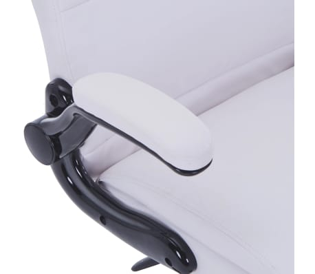 White Artificial Leather Swivel Chair Adjustable[5/6]