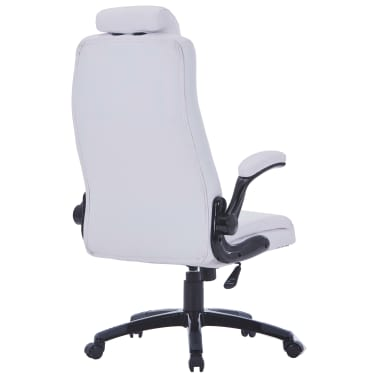 White Artificial Leather Swivel Chair Adjustable[3/6]