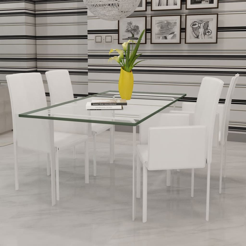 4 ks Bílé koženkové jídelní židle / křesla s područkami