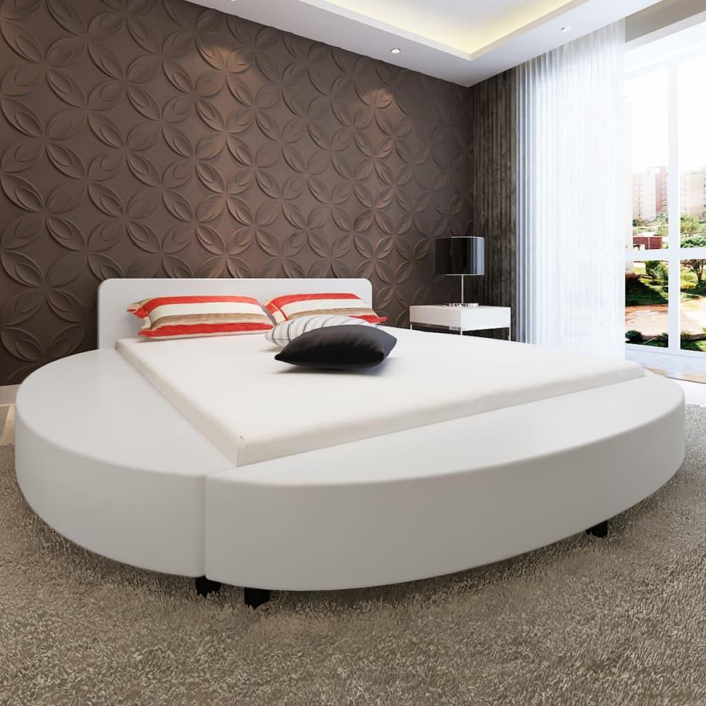 vidaXL Postel s matrací 180x200 cm umělá kůže bílá kulatá
