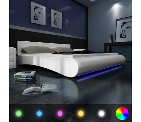polsterbett kunstleder lattenrost led streifen wei 140x200 matratze g nstig kaufen. Black Bedroom Furniture Sets. Home Design Ideas
