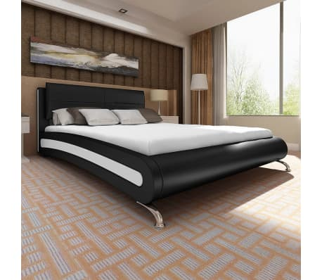 vidaxl bett mit matratze 140 200 cm kunstleder schwarz wei g nstig kaufen. Black Bedroom Furniture Sets. Home Design Ideas