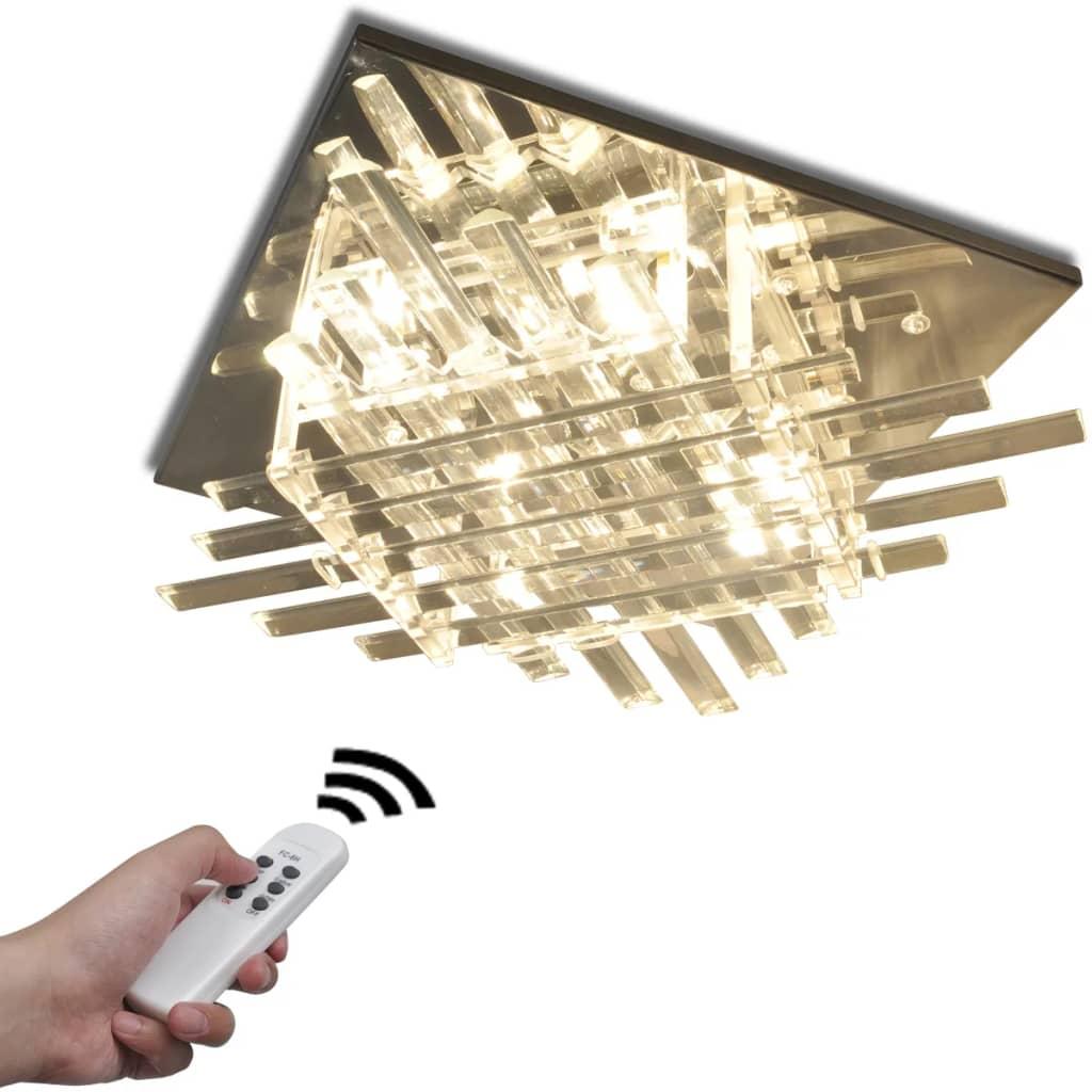 Lampă pătrată de plafon cu RGB LED și benzi de sticlă poza 2021 vidaXL