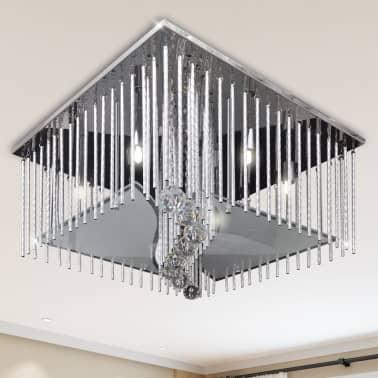 Y Lámpara Tiras Techo Rectangular Cristal Colgante De Aluminio tCQhrsdx