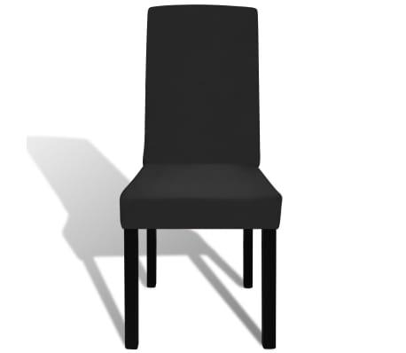 Crne rastezljive navlake za stolice, 6 kom[3/4]