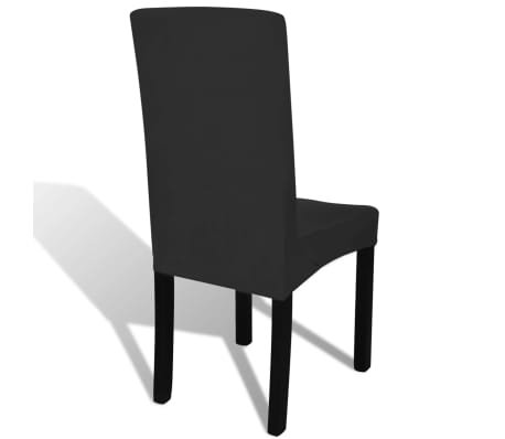6 pcs Black Straight Stretchable Chair Cover[4/4]