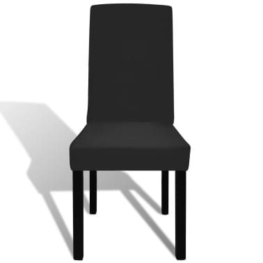 6 pcs Black Straight Stretchable Chair Cover[3/4]
