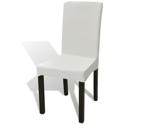 6 pcs Cream Straight Stretchable Chair Cover