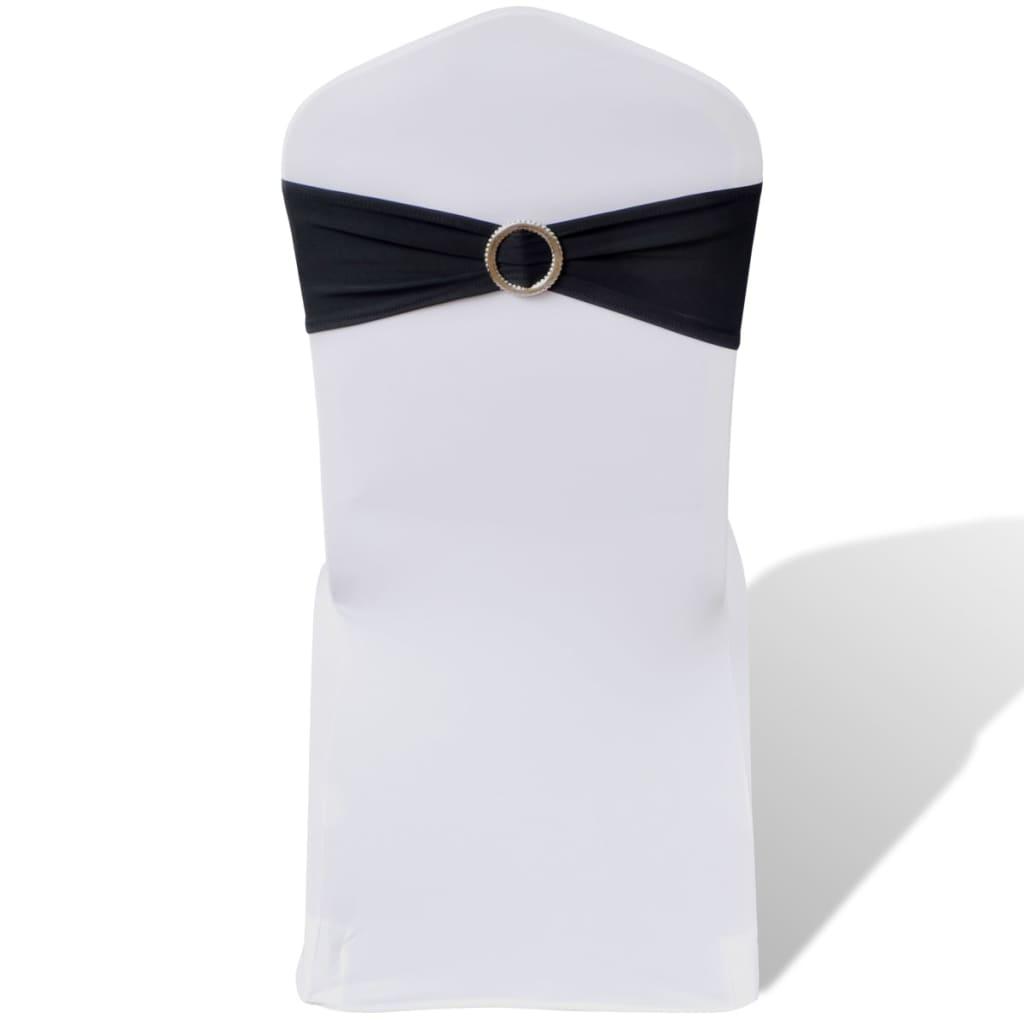 999130346 25 x Stuhlschleifen Stretch Schleifenbänder + Diamant Schnalle schwarz