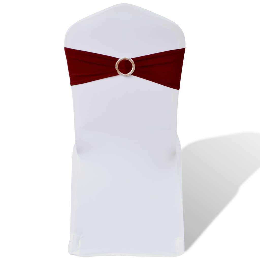 25 ks vínová natahovací šerpa na židle s diamantovou přezkou