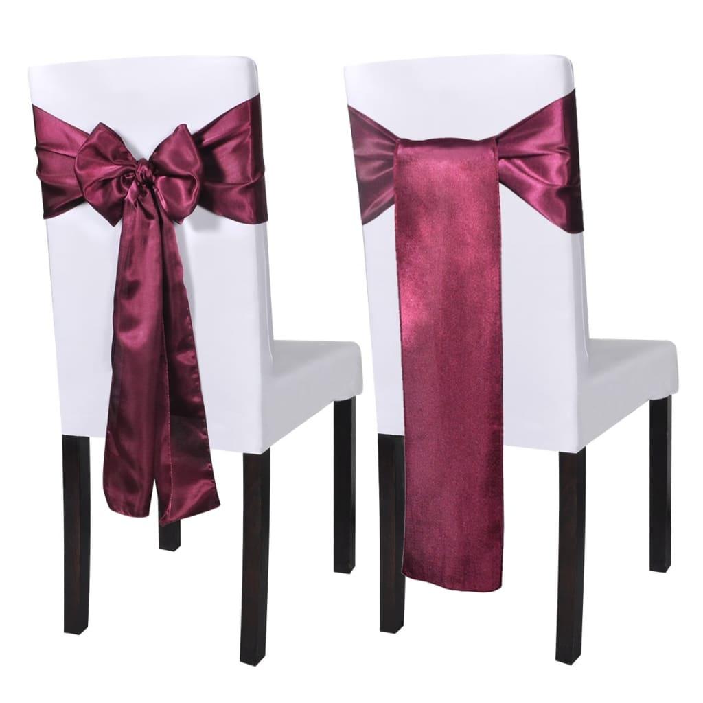 25 ks vínová saténová dekorativní šerpa na židle