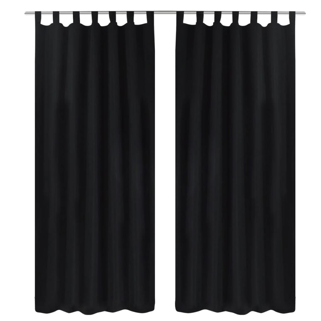 99130354 Vorhänge Gardienen aus Satin 2-teilig 140 x 225 cm Schwarz